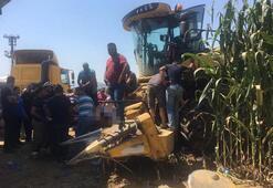 İzmirde biçerdöver faciası: Bacaklarını kaptırdı