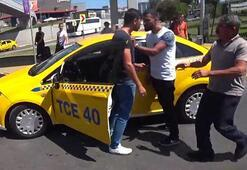 Taksicilerin sıra kavgası kamerada