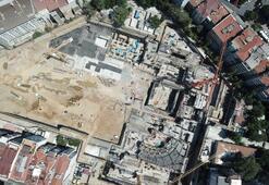 Taksim Camii ve AKM inşaatındaki son durum havadan fotoğraflandı