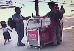 Sahte parayla dondurma almaya çalışırken yakalanınca böyle kaçtı