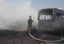 Anız yangını yediemin deposuna sıçradı, hurda araçlar yandı