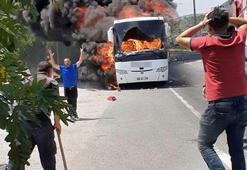 Balıkesirde facia Yanan otobüste 5 kişi öldü