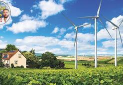 Sitede, yazlıkta  rüzgâr enerjisi
