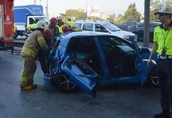 E-5 yan yolda kaza Yaralılar var