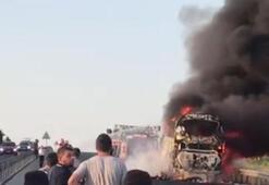 Manisada otobüs yangını