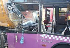 Son dakika: Sancaktepe'de halk otobüsü TIRa çarptı