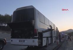 Muğlada tur otobüsü alev aldı