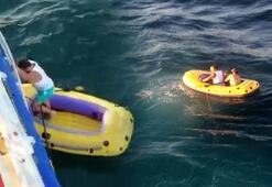 Marmara Denizinde şişme botla 5 saat sürüklendiler