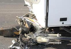 Midibüsle çarpışan motosikletli öldü