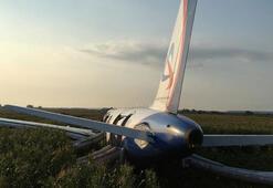 Son dakika... Yolcu uçağı mısır tarlasına acil iniş yaptı