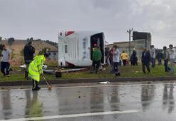 Yolcu otobüsü devrildi Ölü ve yaralılar var...