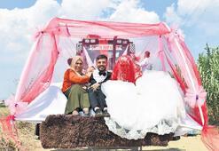 Gelen-damat düğüne kepçeye binip gitti