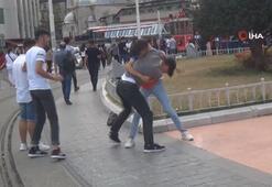 Taksim'de yumruk yumruğa kavga kamerada