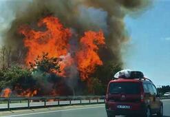 Son dakika | Tekirdağ-İstanbul yolunda korkutan yangın