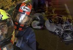 Motosikletten fırlayıp otomobilin üzerine düştü, olanlar oldu