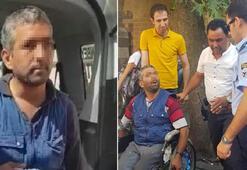 Tekerlekli sandalyedeydi, karşısında onları görünce bir anda ayağa kalktı
