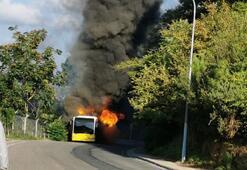 Beykozda İETT otobüsü alev alev yandı