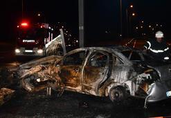 Kaza sonrası alev alan otomobilde can pazarı
