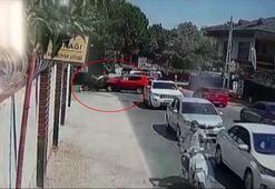 Sarıyer'de motosiklet ile otomobilin çarpışma anı kamerada