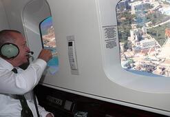 Erdoğan helikopterden Yassıadadaki çalışmaları inceledi