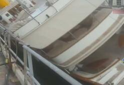 İtalyada limanda lüks yat devrildi: 4 yaralı