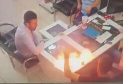 Tamir edilen cep telefonunun patlama anı kamerada