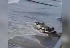 Rusyada elektrikli araç sahile uçtu... O anlar amatör kamerada