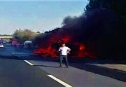 TEMde trafiği kilitleyen yangın