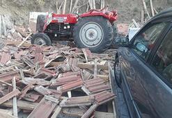 Traktör evin bahçesine düştü