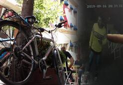Pes dedirten olay Önce çay içti sonra bisiklet çaldı