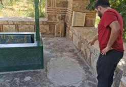 600 yıllık türbede definecilerin açtığı çukur beton dökülerek kapatıldı