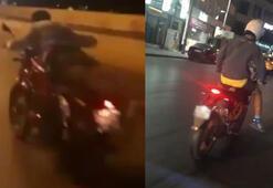 Yok artık dedirten görüntüler Motosikleti yatarak kullandı