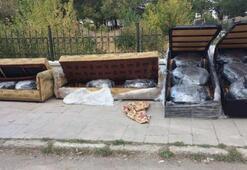 Baza ve kanepeden kilolarca esrar çıktı