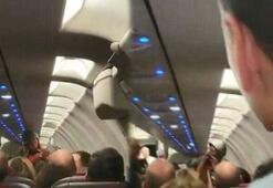 Uçakta panik Bir anda ayağa kalktı ve...