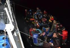 Çanakkalede lastik botta 42 kaçak göçmen yakalandı