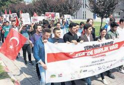 Egeli öğrenciler teröre karşı yürüdü