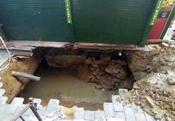 Beşiktaşta yol çöktü