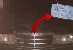 Pes dedirten olay Çaldıkları arabanın üzerine bu notu düştüler
