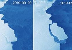 Kilis büyüklüğünde 315 milyar tonluk buzul koptu