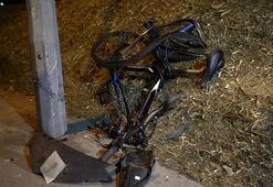 30 metre savruldu...  Bisikletlinin feci ölümü