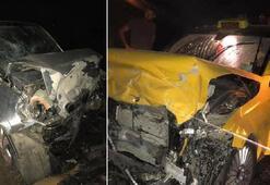 Alaşehirde taksi ile otomobil çarpıştı: 1 ölü, 1 yaralı