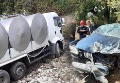 Korkunç kaza Süt tankeri devrildi: 1 ölü