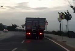 Kurtköy'de patenli gencin tehlikeli yolculuğu kamerada