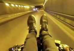 Motosikletli maganda hareketleri ile adeta ölüme meydan okudu