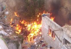 İki bina arasında korkutan yangın