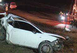 Otomobil 200 metrelik şarampole yuvarlandı 2 ağır yaralı