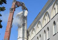 Avcılarda hasar gören minarede son durum