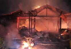 Sivas'ta meydana gelen yangında at çiftliği alevlere teslim oldu