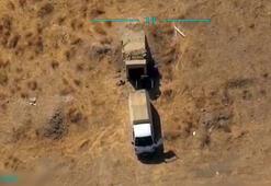 YPG'li teröristler mühimmat ikmali yaparken böyle vuruldu