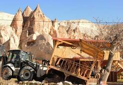 Kapadokyada 157 kaçak yapı yıkıldı